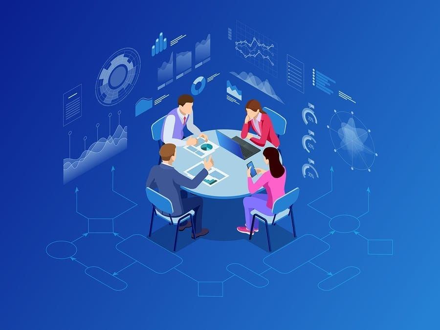Isometric business people talking conference meeting room. Team work process. Business management teamwork meeting and brainstorming. Vector illustration