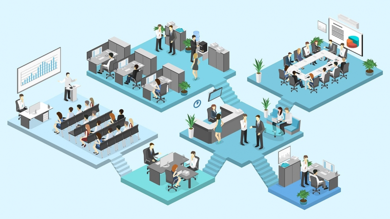 Isometric flat 3d abstract office floor interior departments concept vector. conference hall offices workplaces director of the office interior