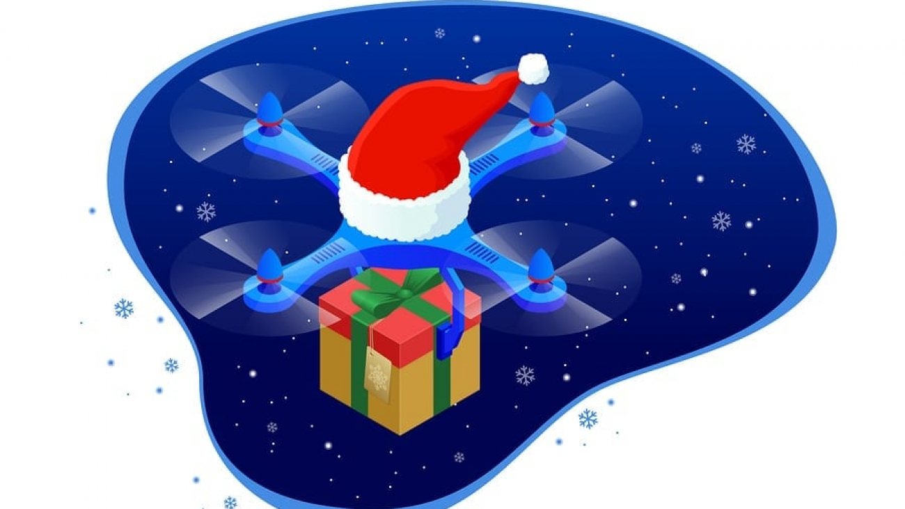 Isometric dron Santas hat delivering Christmas gifts and presents. Vector illustration