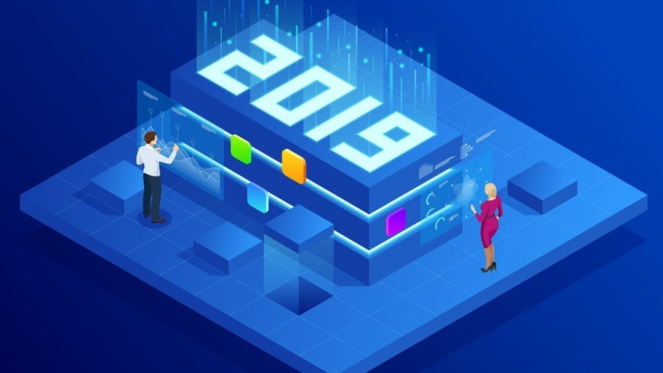 Isometric Business New Year 2019 concept, Digital technologies. Business solution, planning ideas. New innovative ideas.